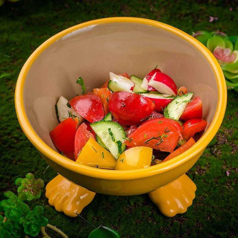 <p>Овощной салат<br />  Помигурчик растет на маслянистой поверхности Овощ. Подается кусочками вместе с яркими растительными ломтиками редосом и пурцом</p>