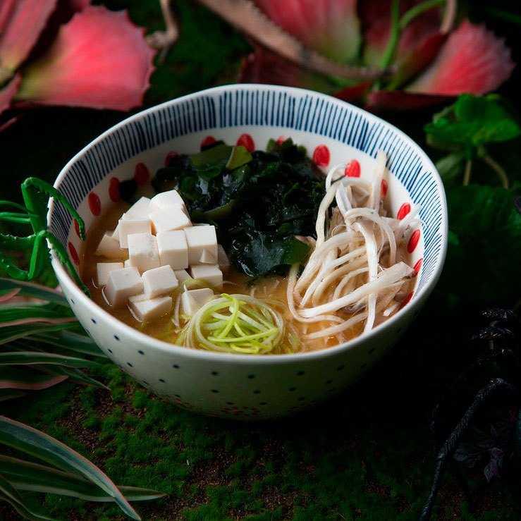 <p>Тофу, водоросли вакаме, вешанки, лук порей</p>